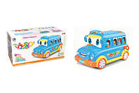 Муз. разв. игрушка BT-2220E (6шт)автобус-каталка, 2 цвета,