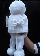 Зимняя шапочка с ушками на девочку Бант белая