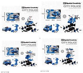 Конструктор с инструм LM8021/22/23/24-YZ-1 (24шт) 21-33дет, 4 вида, Полиция, в кор 33*13,5*19,2