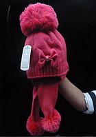 Зимняя шапочка с ушками на девочку Бант малиновая