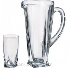 Набір для води Bohemia Quadro (глечик 1,5 л+ стакани 350мл-6шт) 7 предметів богемське скло (b99999-99A44)