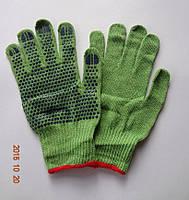 Перчатки зеленые х/б с ПВХ точкой, Польша (упаковка 10 пар)