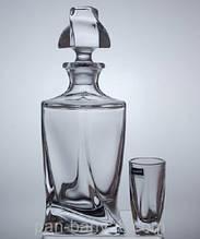 Набор для ликеру Bohemia Quadro (графин 457мл+ стопки 50мл-6шт) 7 предметов богемское стекло (99999A44/45)