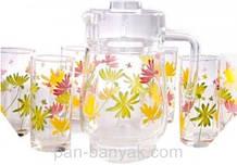 Набір для води Luminarc Crazy Flowers (глечик 1,6 л+ стакани 270мл-6шт) 7 предметів скло (4621G)