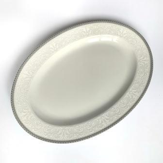 Блюдо овальне з бортом Thun Opal (Обведення сіра) довжина 32 см фарфор (8034800)