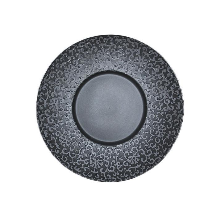 Тарелка ALT Porcelain Delux черная матовая с узором d30,5 см (FC0010-12)