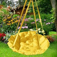 Подвесное кресло гамак для дома и сада 96 х 120 см до 200 кг желтого цвета
