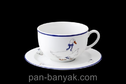 Чашка чайная с блюдцем Thun Гуси 250мл фарфор (P166SN50)