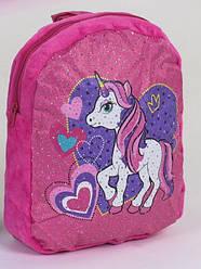 Детский дошкольный рюкзак для девочки малиновый Единорог #4