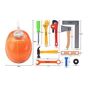 Набор инсрументов 333-1 (96шт/2) каска, ключ, молоток, отвертка, топор, в сетке 23*18см