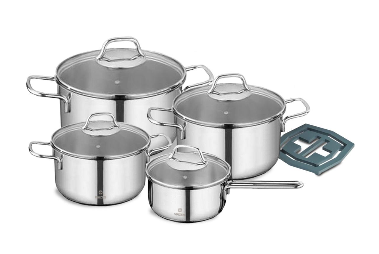 Набір посуду Vinzer Techno 9 предметів нержавійка (89022NEW Vinzer)