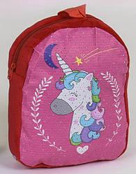 Детский дошкольный рюкзак для девочки малиновый Единорог #5