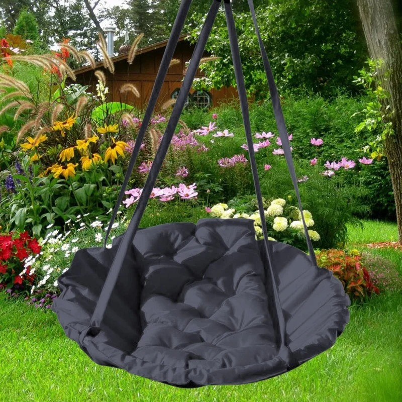 Підвісне крісло гамак для будинку й саду 96 х 120 см до 200 кг темно сірого кольору