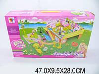 Домик 8075 (1194414) (18шт/2) 2-х этажный с садом, куклами, мебелью, в кор. 47*9,5*28см