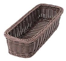 Корзина FoREST прямоугольная черная 28х11 см h7 см, Прямоугольная корзина для хранения хлеба, Хлебница черная