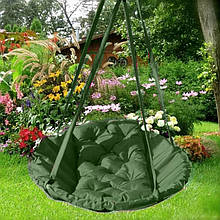 Подвесное кресло гамак для дома и сада 96 х 120 см до 200 кг темно зеленого цвета