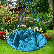 Підвісне крісло гамак для будинку й саду 96 х 120 см до 120 кг бірюзового кольору