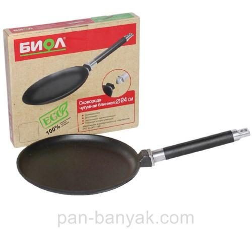 Сковорода блинная Биол  d24 см h2 см чугун (04241)