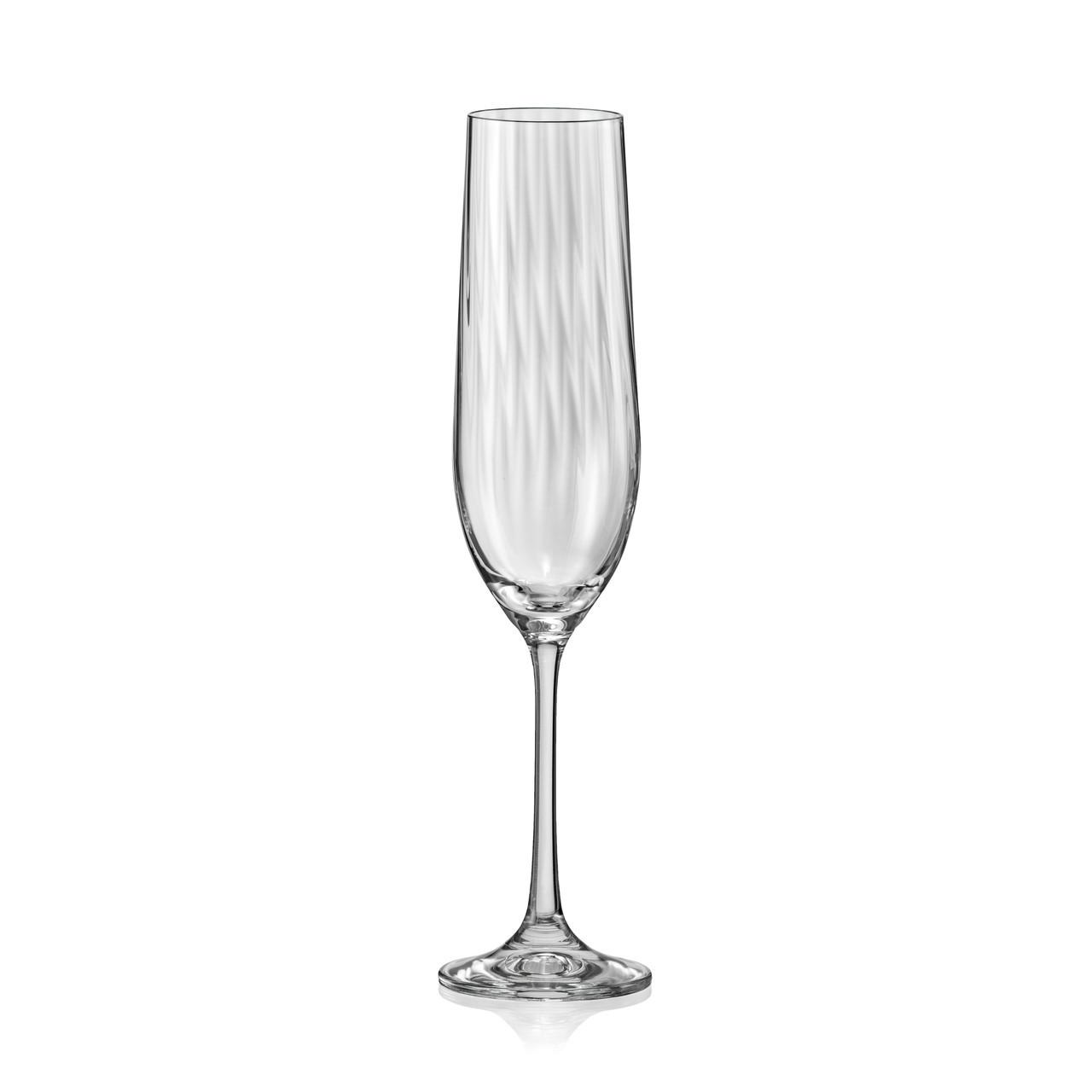 Набор бокалов для шампанского Bohemia Waterfall 6 штук 190мл богемское стекло (40729/OPT22/190)