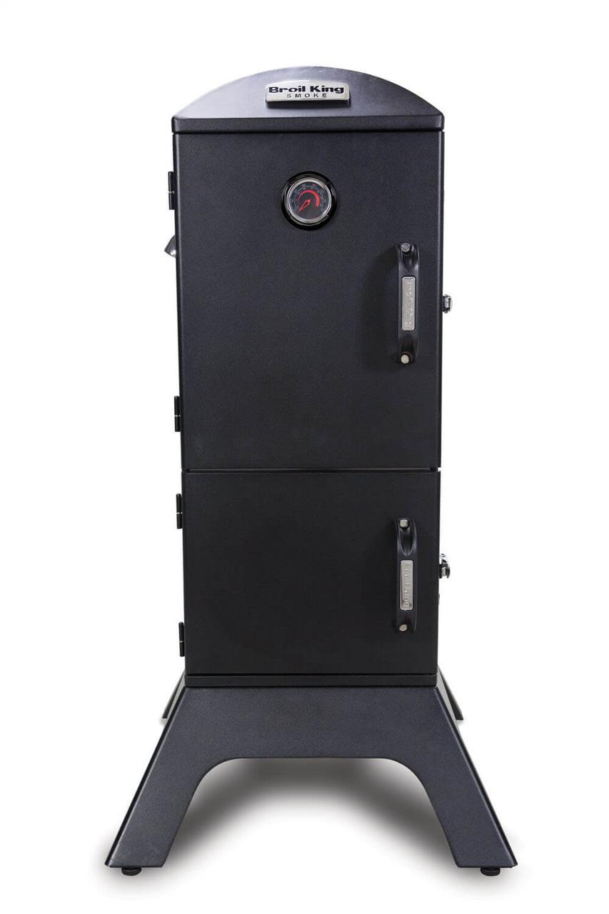 Коптильня газовая вертикальная с крючками и решеткой для мяса и термометром в черном цвете Broil King 923613