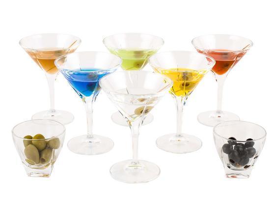 Набор для мартини RCR Fusion (салатник 8,5см 2шт+ бокал для мартини 230мл 6шт) 7 предметов стекло