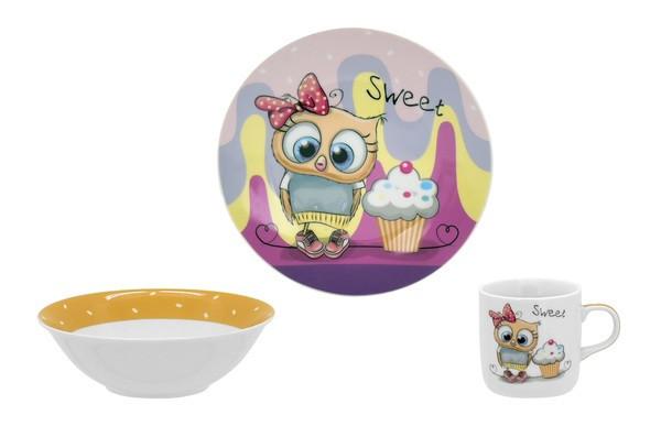 Набор для детей Limited Edition Sweet Owl 3 предмета фарфор (C525)