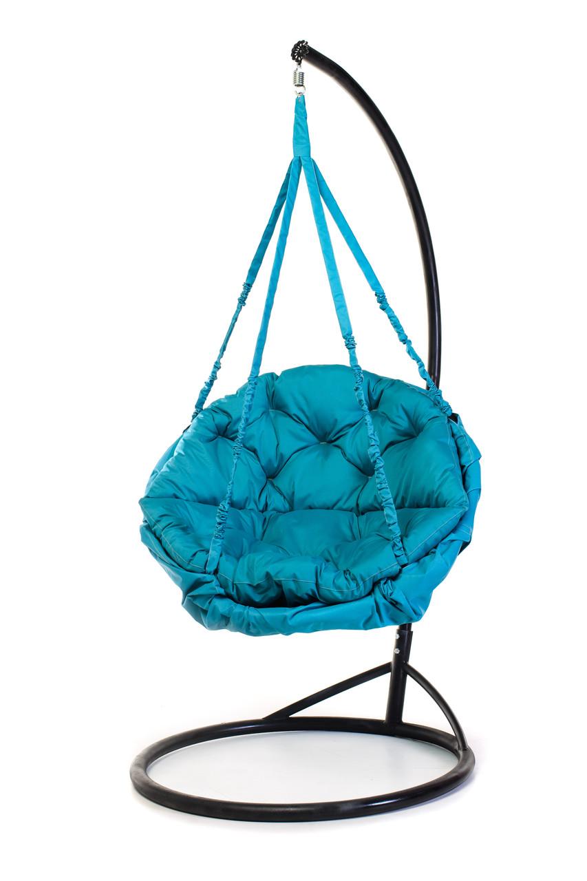 Подвесное кресло гамак для дома и сада с большой круглой подушкой 96 х 120 см до 200 кг бирюзового цвета