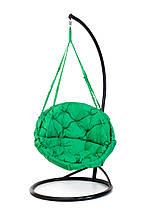 Підвісне крісло гамак для дому та саду з великою круглою подушкою 96 х 120 см до 200 кг зеленого кольору