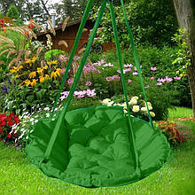 Подвесное кресло гамак для дома и сада 96 х 120 см до 200 кг зеленого цвета