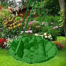 Підвісне крісло гамак для будинку й саду 96 х 120 см до 120 кг зеленого кольору