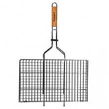 Решітка для барбекю Скаут з деревяною ручкою 45х26 см h2 см метал (0717 Скаут)