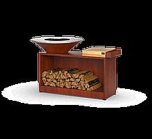 Гриль мангал, барбекю с покрытием под ржавчину с большой открытой тумбой  HOLLA GRILL HGRW-3
