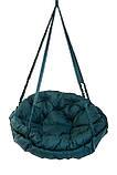Подвесное кресло гамак для дома и сада с большой круглой подушкой 120 х 120 см до 250 кг темно зеленого цвета, фото 2