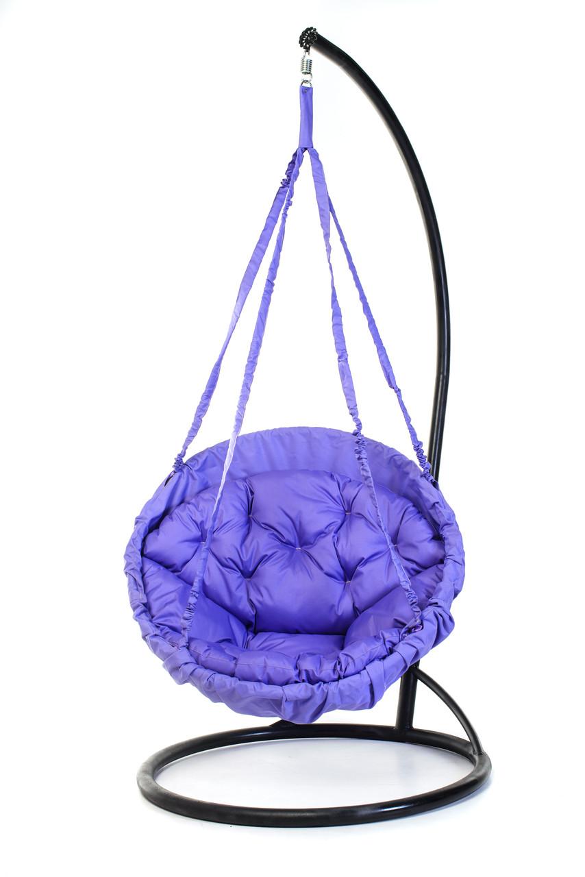 Подвесное кресло гамак для дома и сада с большой круглой подушкой 120 х 120 см до 250 кг сиреневого цвета