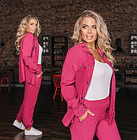 Женский брючный вельветовый костюм с рубашкой большого размера. Размеры:50/52,52/54.+Цвета, фото 1