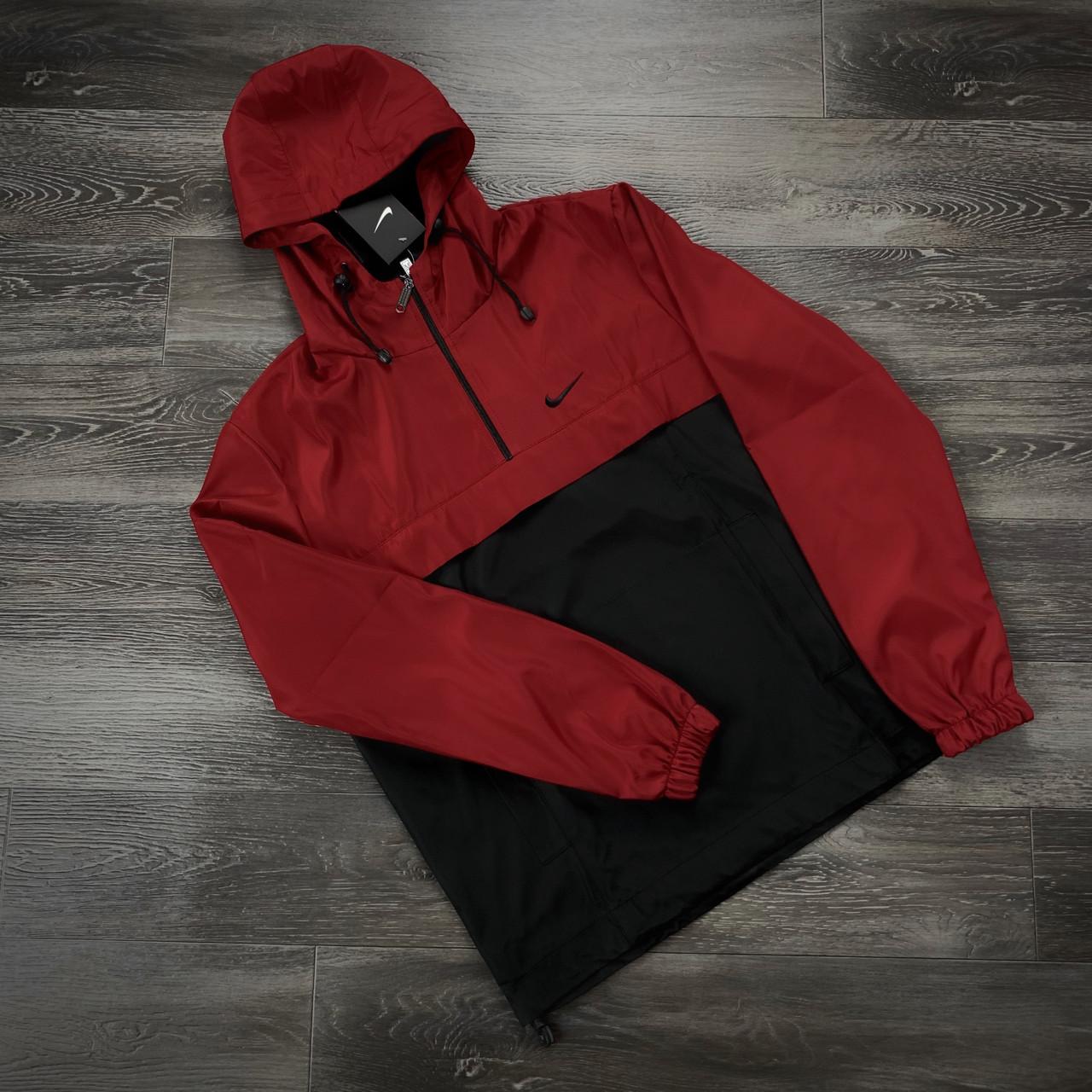 Анорак Nike President Мужской Черный - Красный найк ветровка осенняя весенняя спортивная