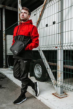 Анорак Nike President Мужской Черный - Красный найк ветровка осенняя весенняя спортивная, фото 3