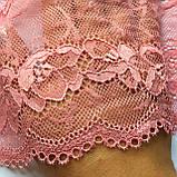 Еластичне (стрейчевое) мереживо рожевого кольору. Ширина 16 див., фото 4