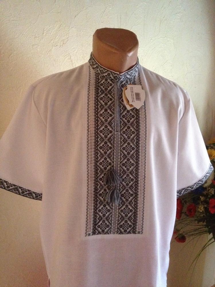 Літня чоловіча вишита сорочка з сірим орнаментом (ручна робота ... cbfd7e345e4bd