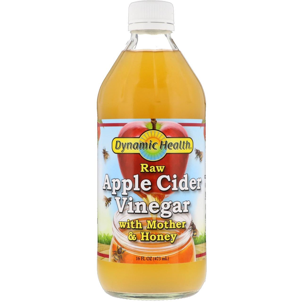 Органический яблочный уксус непастеризованный, с уксусной маткой и медом, 473 мл Dynamic Health Laboratories