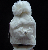 Зимняя шапочка на девочку Бант белая