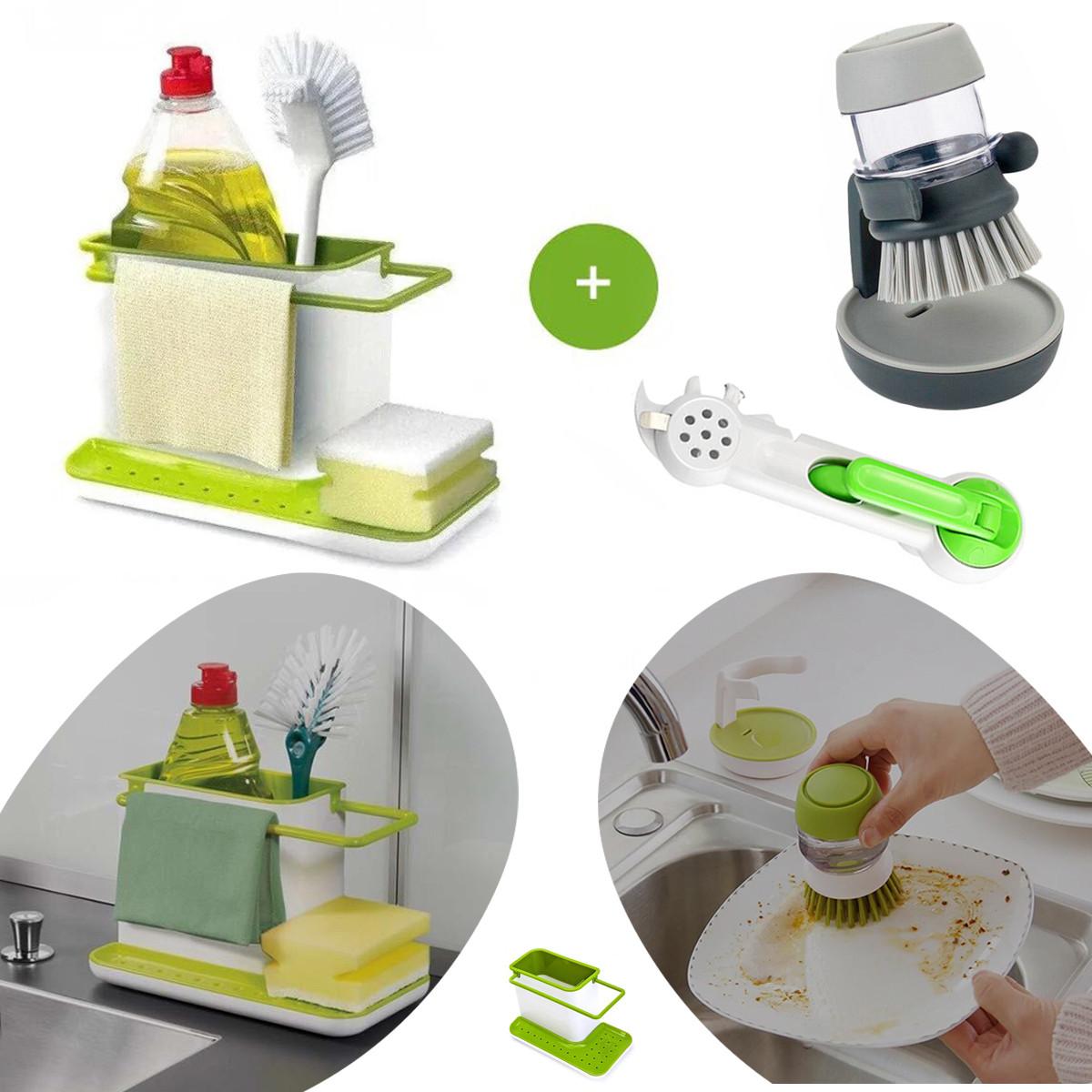 Органайзер на раковину + щетка для мытья посуды с дозатором мыла + открывалка, консервный нож 7 в 1