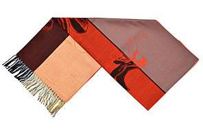 Трехцветный палантин с цветами (оранжевый)