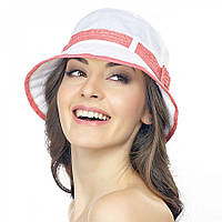 Белая женская шляпа Brezza с коралловым ремешком