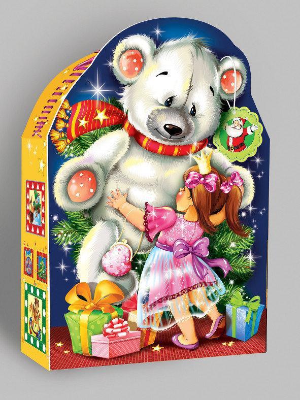 Новогодняя картонная упаковка для конфет Тедди мелким оптом, на вес до 600г