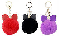 Пушистый меховой брелок для ключей, сумок и рюкзаков с помпоном Бант 01084