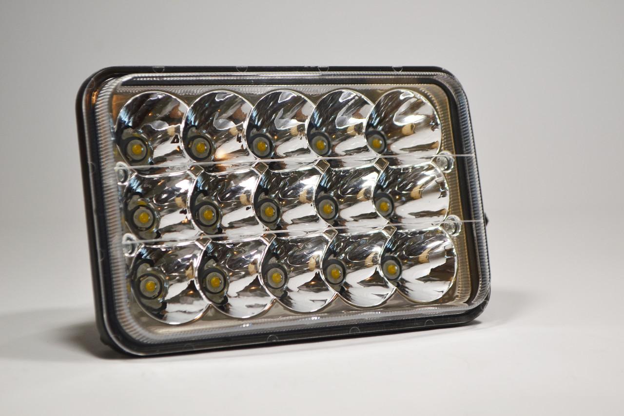 Светодиодная LED фара ближний+дальний 45Вт 15ламп прямоугольная (на 2 режима)