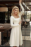 Платье миди с вырезом-каре молочное, фото 3