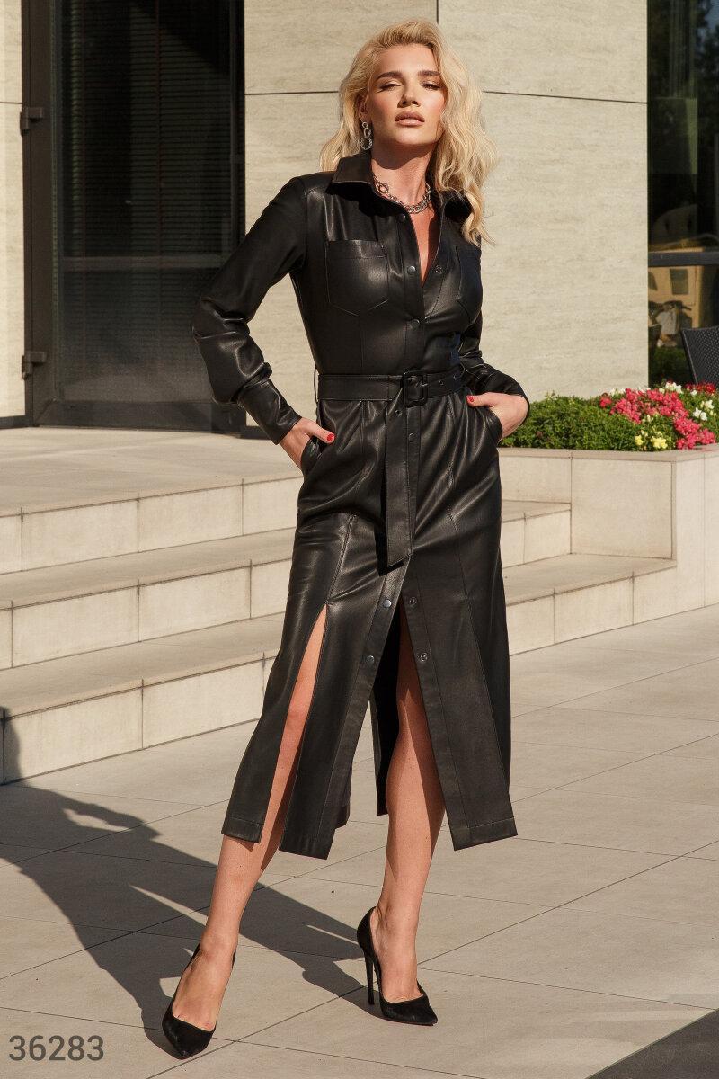 Кожаное платье-рубашка длины миди