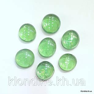 Камушки Декоративные, Круглые, Стеклянные, 18~20 мм, Цвет: Зеленый (80 шт.)